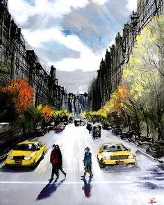 paul kenton Paul Kenton, Red Umbrella, Year 9, A Level Art, Sense Of Place, Gcse Art, City Art, City Streets, Watercolors