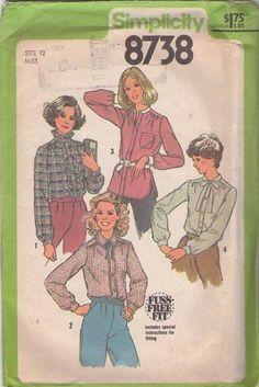 MOMSPatterns Vintage Sewing Patterns - Simplicity 8738 Vintage 70's Sewing Pattern Cool Fuss Free Fit Modest Nehru, Tie or Ruffle Collar Shirt, Blouse Set Size 10