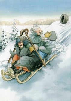 """""""Inge, Look! There Goes Another Hat!""""~ Artist: Inge Look. Old Folks, Oeuvre D'art, Old Women, Finland, Illustrators, Cool Art, Have Fun, Illustration Art, Artsy"""