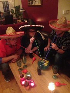 Mexican theme party. Sombreros. Fish bowl