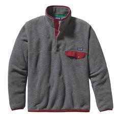 Patagonia Men\'s Lightweight Synchilla\u00AE Snap-T\u00AE Fleece Pullover - Nickel w/Wax Red NKWR-533