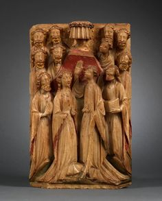 This 15th-century Nottingham alabaster relief depicts the Ascension of Christ to Heaven. Most of the medieval art in England was wiped out by the Reformation. Some of these Nottingham alabasters were spared. One reason for their survival is that they were traded internationally, with examples being found as far as Iceland and Spain. From the collection of Mullany at BRAFA 2014.