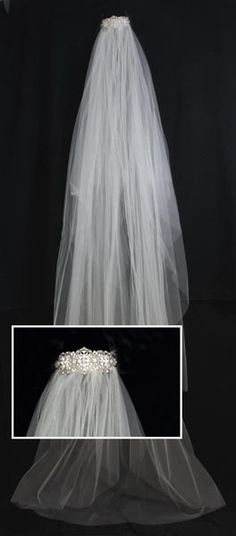 Love this cathedral veil with the rhinestone headpiece attached!
