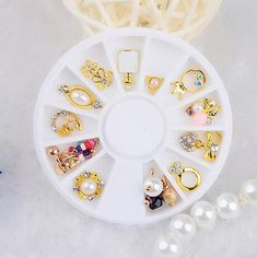 3d Nail Art Flower Ring 14pcs wheel DIY Alloy pearl Rhinestone Jewelry Decor   0895b0b09652