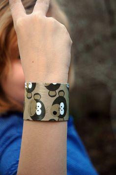 Monkey recycled bracelet by RecycledArts on Etsy, $3.00