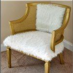 Cane chair made over with faux fur!