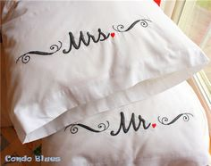 Mr and Misses hand embroidered pillowcase tutorial