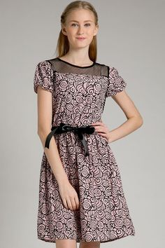 Valentine Dress by Coco IDR 245.000.  Feminine and pretty in the flare dress with lace detail, flower print, zipper at the back and ribbon belt included. http://berrybenka.com/new-arrival/clothing/38803/valentine-dress