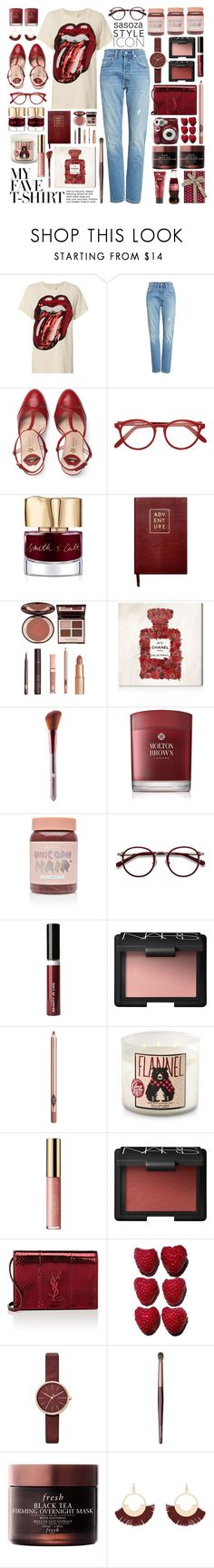 """OOTD by Sasoza"" by sasooza ❤ liked on Polyvore featuring MadeWorn, Levi's, Gucci, Cutler and Gross, Smith & Cult, Sloane Stationery, Charlotte Tilbury, Oliver Gal Artist Co., Molton Brown and Lime Crime"