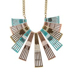 Alana Antique Mixed Metal Wide Paddle Bars Statement Necklace | Icing