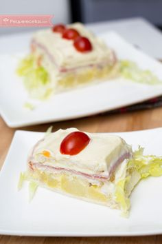 Pastel de ensaladilla Beef Stroganoff, Quiches, Queso, Healthy Snacks, Sandwiches, Cheesecake, Appetizers, Cooking, Desserts
