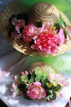Dolly and Me Tea Party Hats - Pink & Green Girls Tea Party, Tea Party Hats, Just Girly Things, Love Flowers, Beautiful Flowers, Fancy Hats, My Tea, Spring Time, Beautiful Gardens