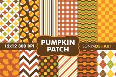 Digital Papers Pumpkin Patch Patterns By Sonya DeHart Design
