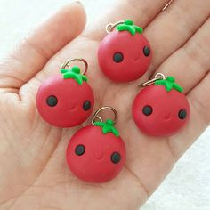 Tomato Charm, Tomatoe Polymer Clay Pendant, Food, Miniature Food Charm, DS Charm, polymer clay, clay pendant, Kawaii, Chibi, Clay Charm