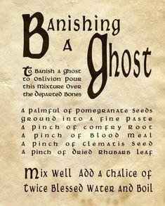 Banishing a Ghost. Halloween print for spell book. Halloween Spell Book, Halloween Spells, Fete Halloween, Halloween Labels, Halloween Forum, Halloween Design, Halloween Halloween, Vintage Halloween, Halloween Pumpkins