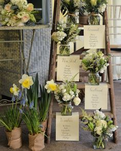 Vintage Ladder Table Plan at Loseley Park made from La Belle Roses, White Hyacinth, Sweet Peas and Tulips