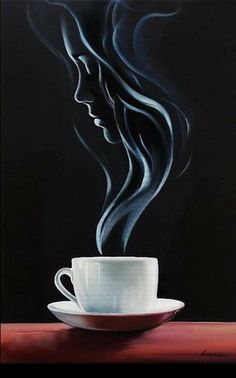 illusion art step by step ; Illusion Kunst, Illusion Art, Coffee Drawing, Coffee Art, Coffee Cup Art, Coffee Time, Coffee Shop, Pencil Art Drawings, Art Drawings Sketches