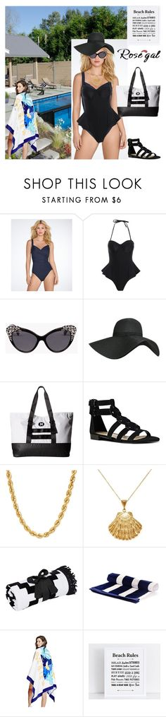 """""""Fun In The Sun!"""" by bevmardesigns ❤ liked on Polyvore featuring Miraclesuit, Dsquared2, Pilot, Hurley, Nine West, Ottoman Hands, Black, GUESS, women and fashionset"""