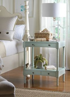 Cape Island Nightstand; not sure if it has enough storage, but love how airy it is.