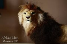 Lion needle felting lion african lion felted wild big cat