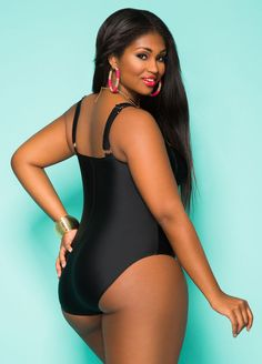 a54db98e3b728 Solid Color One Piece Swimsuit-Plus Size Swimsuits-Ashley Stewart