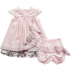 KENZO  GIRLS PINK COTTON DRESS & SHORTS 2 PIECE SET WITH 'EGLANTINE' FLORAL