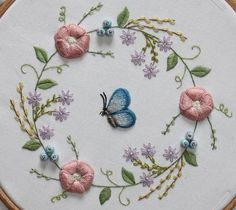 Embroidery blue butterfly