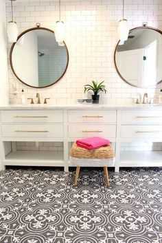 Living With Kids: Shauna's Beach Cottage double sink with cement tiles