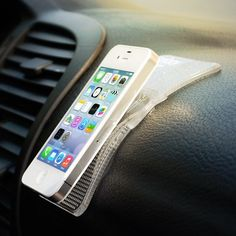 The Grippy Pad will hold iPhones or Sat Navs in place on your dashboard without a single magnet, velcro strip, or sticky adhesive.