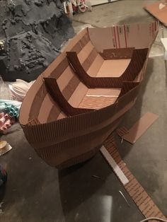 I Made this boat out of cardboard boxes+corrugated paper and glue it together VBS-Deep Sea Discovery Idea Presbyterian Church Cardboard Box Boats, Cardboard Crafts, Cardboard Castle, Wooden Boats, Boat Props, Pirate Halloween, Boat Projects, Church Activities, Vacation Bible School