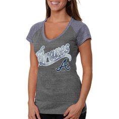 0da5e1d57e9c Atlanta Braves Women s V-Neck Raglan Slim Fit Tri-Blend T-Shirt -