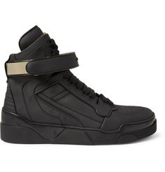 Givenchy Metal-Trimmed Leather High Top Sneakers | MR PORTER