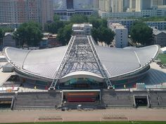 Beijing Institute of Technology Gymnasium, a distinguished indoor arena, is holding the Olympic Games volleyball events. The venue is a fine example of the principles of Green Olympics, High-tech O… Olympic Venues, Olympic Games, Stadium Architecture, Indoor Arena, Beijing China, Summer Olympics, Google Images, Innovation, Louvre
