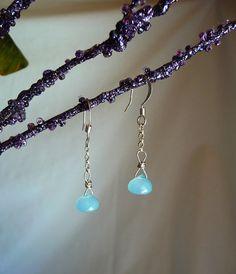Sky Blue Chalcedony Teardrop Earrings http://www.CarolinesJewels.Etsy.com