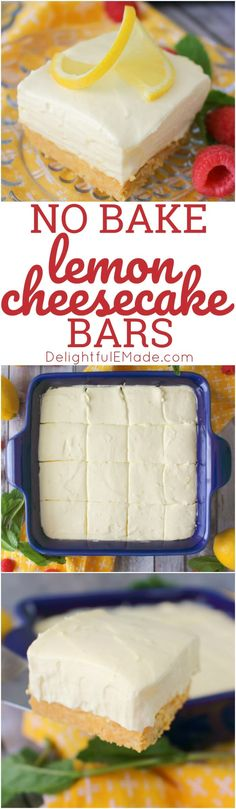 If you love an amazing lemon dessert, then these No Bake Lemon Cheesecake Bars will be your new bake! Made with a lemon OREO crust, and a creamy, no bake cheesecake filling, these easy cheesecake bars will be your new go-to dessert! #cheesecake #lemon #oreo