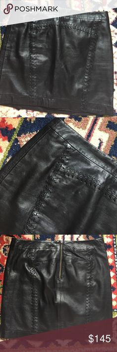 EUC French Connection black leather mini skirt! EUC French Connection black Genuine leather mini skirt with awesome stitching detail! Size 4! Leather is so soft! Zips in back! French Connection Skirts