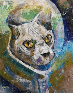 Cats Painting - Space Cat by Michael Creese