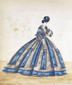 Fashion concept sketch, House of Worth. 1860s. Victoria & Albert Museum | In the Swan's Shadow