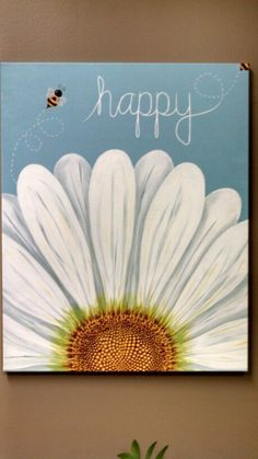 37 Easy Canvas Painting Ideas You Can DIY &; Page 30 of 37 &; VimDecor 37 Easy Canvas Painting Ideas You Can DIY &; Page 30 of 37 &; Easy Flower Painting, Acrylic Painting Flowers, Daisy Painting, Spring Painting, Heart Painting, Flowers On Canvas, Bottle Painting, Pour Painting, Painting Art