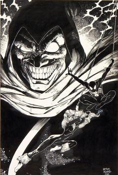 Spidey, Black Cat & Hobgoblin pin-up by Art Adams (from Marvel Fanfare #37)