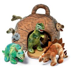 Dinosaurs in a Rock House by FAO Schwarz - 7 plush dinosaurs co-existing peacefully in a soft cave that doubles as a carrying case. It's pricey but a good deal if your child wants a bunch of snuggly dinosaurs in their bed, since these usually cost about 15 to 20 dollars each. - $60