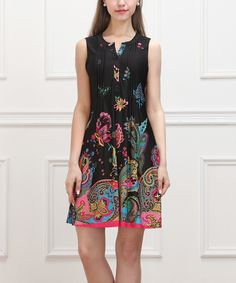 Love this Black & Fuchsia Paisley Sleeveless Button-Front Dress by Reborn Collection on #zulily! #zulilyfinds