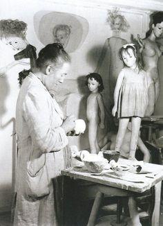 Sasha Morgenthaler working on a Sasha doll in her studio, Switzerland, 1951.