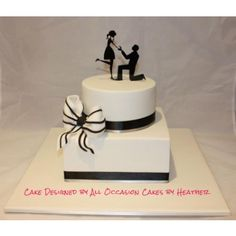 Engagement black and white cake - Proposal Silhouette, On Bended Knee (acrylic)… Engagement Decorations, Engagement Cakes, Engagement Celebration, Celebration Cakes, Fondant Cakes, Cupcake Cakes, Cupcakes, Cake Decorating Courses, Fresh Flower Cake
