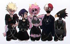 Bakugou Katsuki, Jirou Kyouka, Ashido Mina, Todoroki Shouto, and Tokoyami Fumikage My Hero Academia Memes, Hero Academia Characters, My Hero Academia Manga, Anime Characters, Me Anime, Kawaii Anime, Manga Anime, Anime Art, Instagram Art Tags