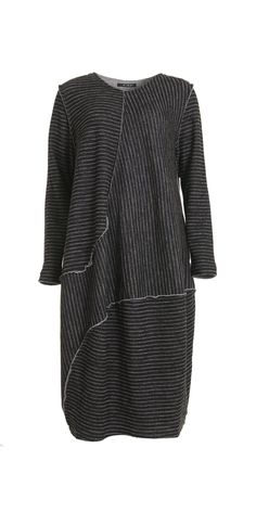 Okishi Raw Edge Black Stripe Dress