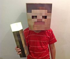 Minecraft mask made from a paper bag.