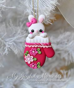 Handcrafted Polymer Clay Bunny in a Mitten Ornament