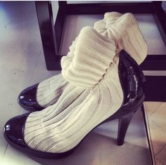 Chanel 2014 shoes  ♡  looks like 199820's ♡♡♡♡♡♥♥♥♥♥♥  Ohhhh. The socks are attached. I've seen these all over Vogue and I was wondering. Mystery solved.  Thanks.