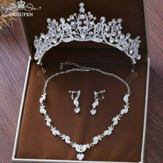 2018 Rhinestone Women Hair Jewelry Sets Necklace Earrings White Color Crowns and Tiaras Headpieces Bridal Accessories For Bride Girls Jewelry, Bridal Jewelry Sets, Hair Jewelry, Bridal Accessories, Wedding Jewelry, Jewelry Accessories, Jewellery Box, Fashion Jewelry, Jewellery Shops